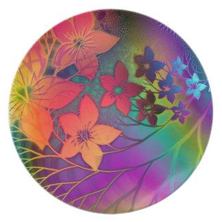 Placa psicodélica de las flores plato de cena