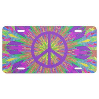 Placa psicodélica del símbolo de paz del teñido placa de matrícula