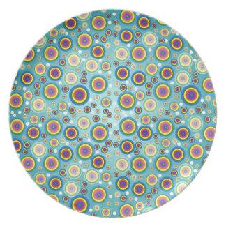 Placa psicodélica retra de los círculos platos