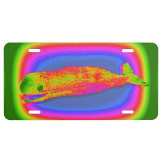 placa psicodélica sonriente de la ballena placa de matrícula