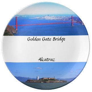 Placa - puente Golden Gate y Alcatraz Platos De Cerámica