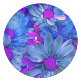 Placa púrpura azul del ramo de las margaritas de N Platos Para Fiestas