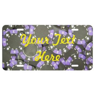 Placa púrpura de la ficha de póker placa de matrícula
