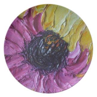 Placa púrpura de la flor del flor de Roberto Platos De Comidas