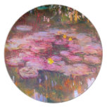 Placa púrpura de los lirios de agua de Monet Platos Para Fiestas