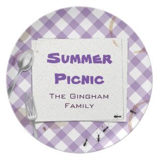 Placa púrpura del Bbq de la comida campestre de la Plato Para Fiesta