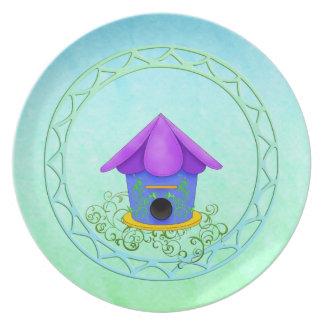 Placa púrpura del Birdhouse del tejado Plato De Comida