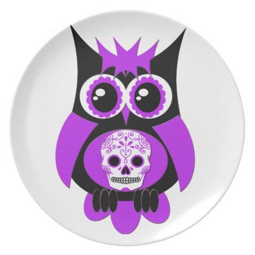 Placa púrpura del búho del cráneo del azúcar platos