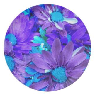 Placa púrpura del ramo de la margarita de la turqu plato de cena