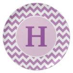 Placa púrpura personalizada de Chevron Plato De Cena