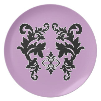Placa púrpura violeta blanco y negro del modelo de plato de cena