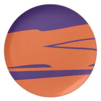 Placa púrpura y anaranjada del SC Platos De Comidas