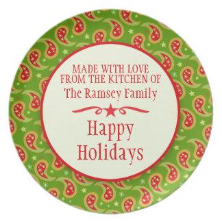 Placa que cuece hecha casera roja verde de la fies plato para fiesta