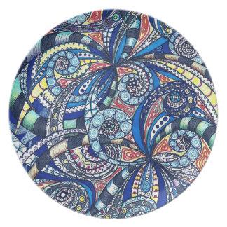 Placa que dibuja el fondo abstracto floral plato