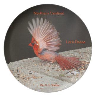 Placa que muestra el baile cardinal masculino plato para fiesta