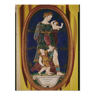 Placa que representa la caridad, Lemosín, 1559 Impresiones