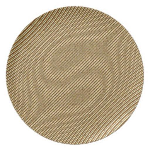 Placa rayada de oro del modelo platos de comidas