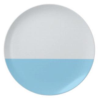Placa rayada del azul de la plata y de cielo plato para fiesta