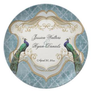 Placa real del recuerdo del boda del azul de pavo  platos