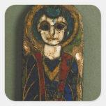 Placa redondeada, representando Cristo o a un Colcomanias Cuadradas
