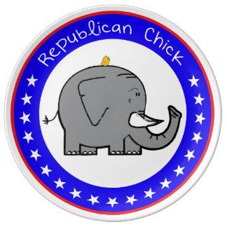 placa republicana del polluelo plato de cerámica