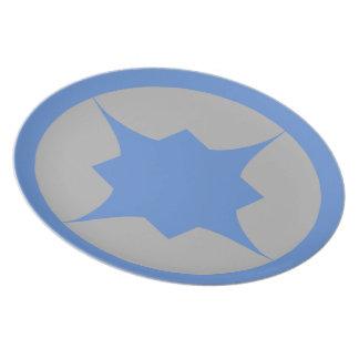 Placa retra azul del bocado de la estrella platos de comidas