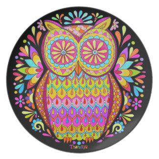 ¡Placa retra colorida linda del búho - psicodélica Platos