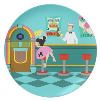 Placa retra de la melamina de la fuente de soda plato para fiesta