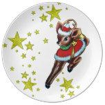 placa retra de la porcelana del reno del navidad plato de cerámica