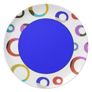 Placa retra de los aros de Colorblock - azul Platos De Comidas