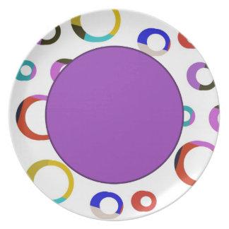 Placa retra de los aros de Colorblock - púrpura Platos