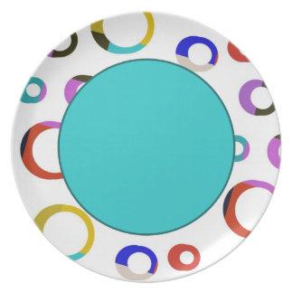 Placa retra de los aros de Colorblock - turquesa Platos Para Fiestas