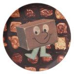 Placa retra de Melmac del vintage del chocolate de Platos De Comidas