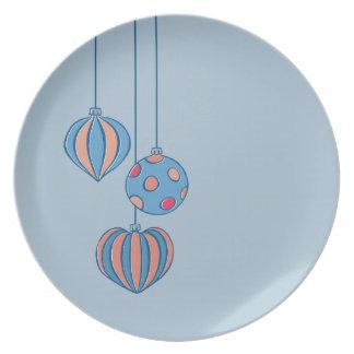 Placa retra del azul de las bolas del navidad platos de comidas