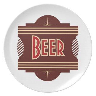 Placa retra del bocado del logotipo de la cerveza plato de cena
