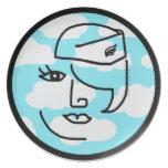 Placa retra del diseño del arte pop de la azafata  platos de comidas