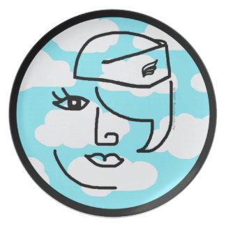 Placa retra del diseño del arte pop de la azafata  platos