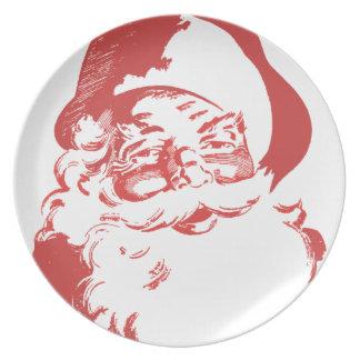 Placa retra del navidad de Santa Plato De Comida