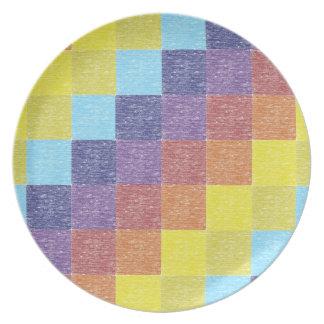 Placa retra del remiendo del arco iris platos de comidas