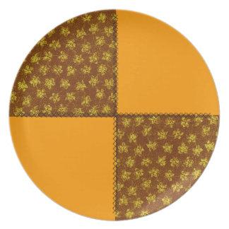 Placa retra del remiendo del oro viejo de Brown de Platos Para Fiestas