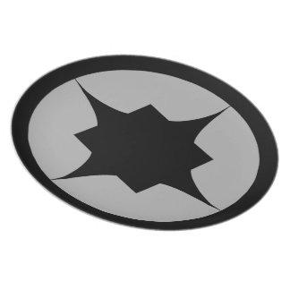 Placa retra negra del bocado de la estrella platos de comidas