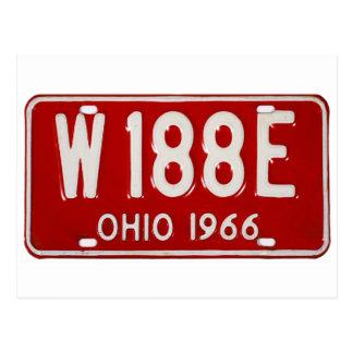 Placa retra Ohio 1966 del coche del kitsch del Postal