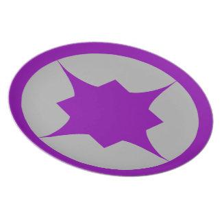 Placa retra púrpura del bocado de la estrella platos para fiestas