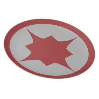 Placa retra roja del bocado de la estrella platos