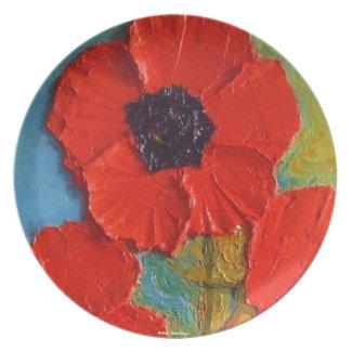Placa roja brillante de las amapolas plato para fiesta