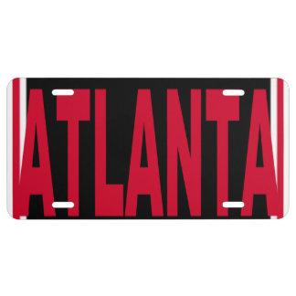 Placa roja de Atlanta y blanca negra Placa De Matrícula