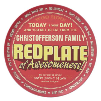 Placa roja de Awesomeness para las familias Plato Para Fiesta