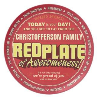 Placa roja de Awesomeness para las familias Platos