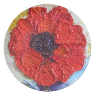 Placa roja de la amapola de París Platos De Comidas