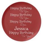 Placa roja de la canción del feliz cumpleaños platos para fiestas